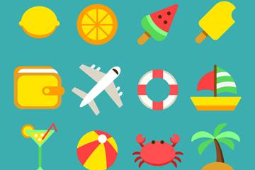 12款彩色夏季度假图标矢量素材