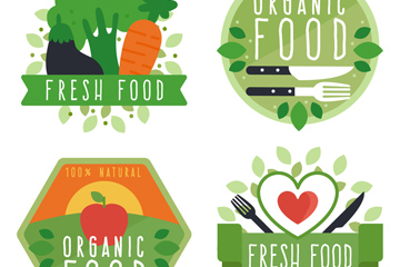 4款彩色新鲜有机食物标签矢量图