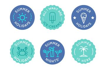 6款蓝色夏季度假徽章标签矢量图