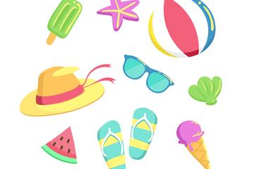 9款卡通夏季生活用品图标矢量素
