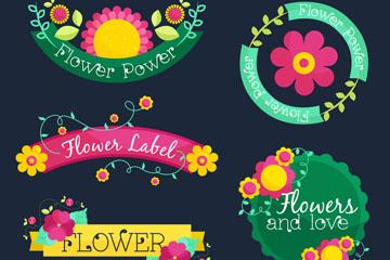 5款彩色花卉标签矢量素材
