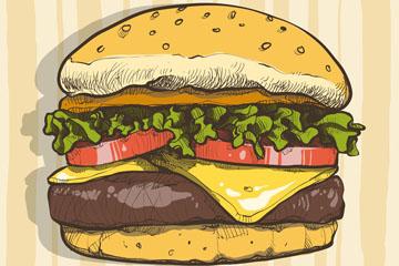 彩绘美味汉堡包矢量素材