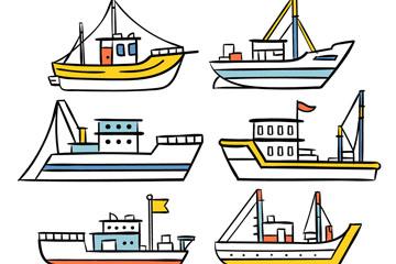 6款创意渔船设计矢量素材