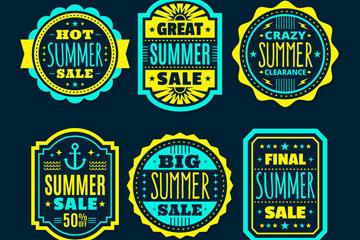 6款绿色夏季促销标签矢量素材
