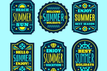 6款绿色夏季度假标签矢量图