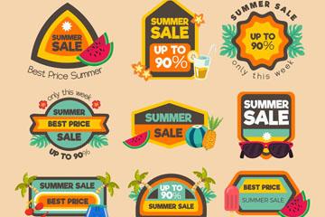 9款彩色夏季折扣标签矢量素材