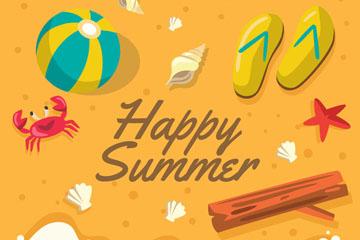 创意快乐夏季沙滩插画矢量素材
