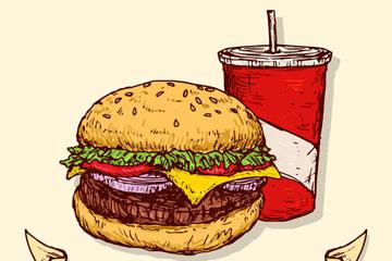 彩绘美味汉堡包和可乐矢量图