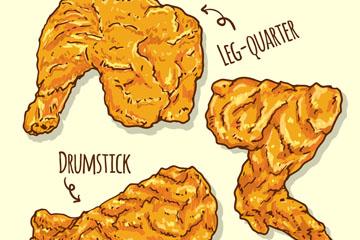 3款美味炸鸡料理矢量素材