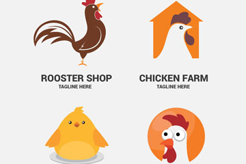 4款创意鸡元素标志矢量素材