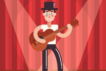 创意舞台上弹吉他的男子矢量图