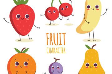 6款卡通可爱表情水果矢量素材
