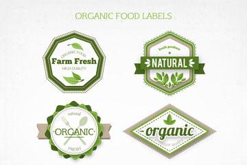 6款绿色有机食物标签矢量图