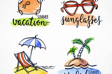 4款彩绘夏季度假标签矢量图