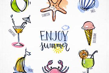 8款手绘彩色夏季元素矢量图