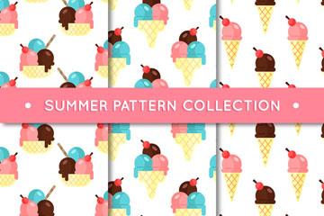3款彩色夏季雪糕无缝背景矢量图