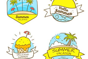 4款创意夏季假期标签矢量图