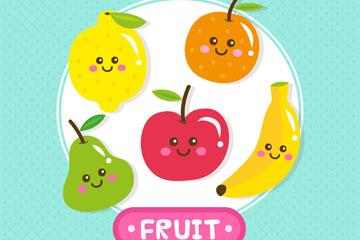 5款彩色笑脸水果矢量素材