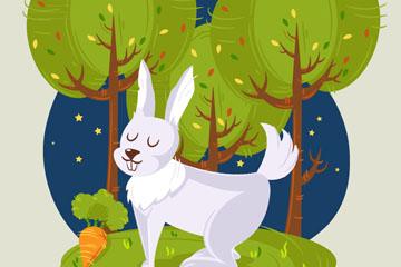 创意夜晚森林里的白兔矢量图