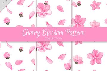 3款粉色樱花无缝背景矢量素材