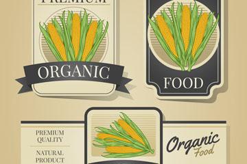 3款彩绘玉米有机农产品标签矢量图