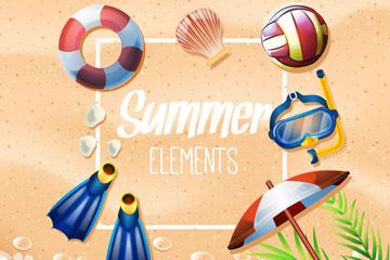 7款创意沙滩上的夏季度假用品矢量图