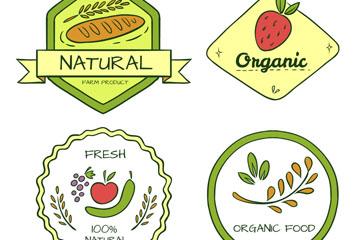 4款彩绘有机食品标签矢量素材