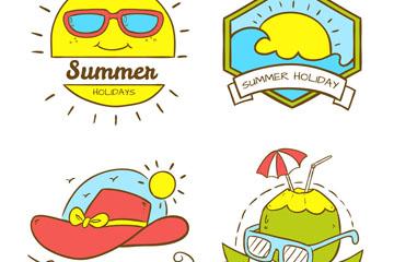 4款彩绘可爱夏季假期标签矢量图