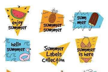8款彩绘夏季假期标签矢量图