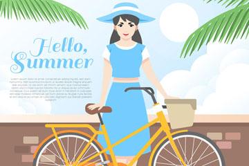 夏季海边度假女孩和单车矢量素材