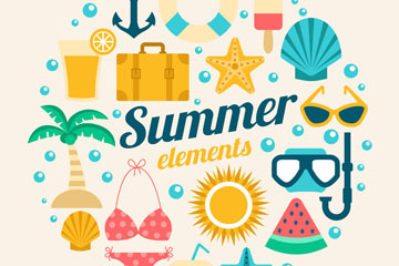 16款彩色夏季元素设计矢量素材
