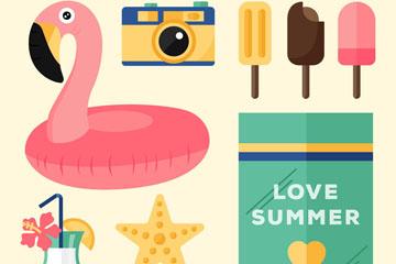 9款彩色夏季度假用品矢量素材
