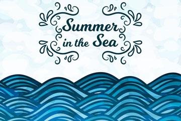 彩绘夏季大海蓝色海浪矢量素材