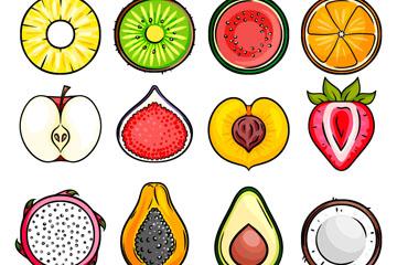 12款彩色水果切面矢量素材