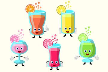5款可爱表情水果汁矢量素材