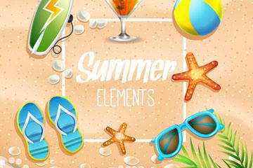 6款精美夏季沙滩度假元素矢量图