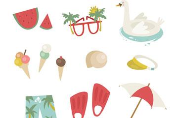 12款创意夏季度假元素矢量素材