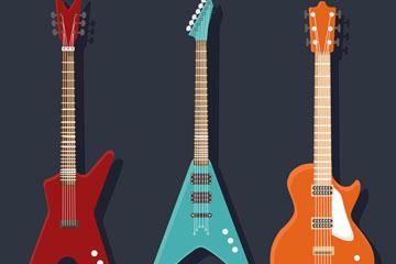 3款彩色时尚电吉他矢量素材