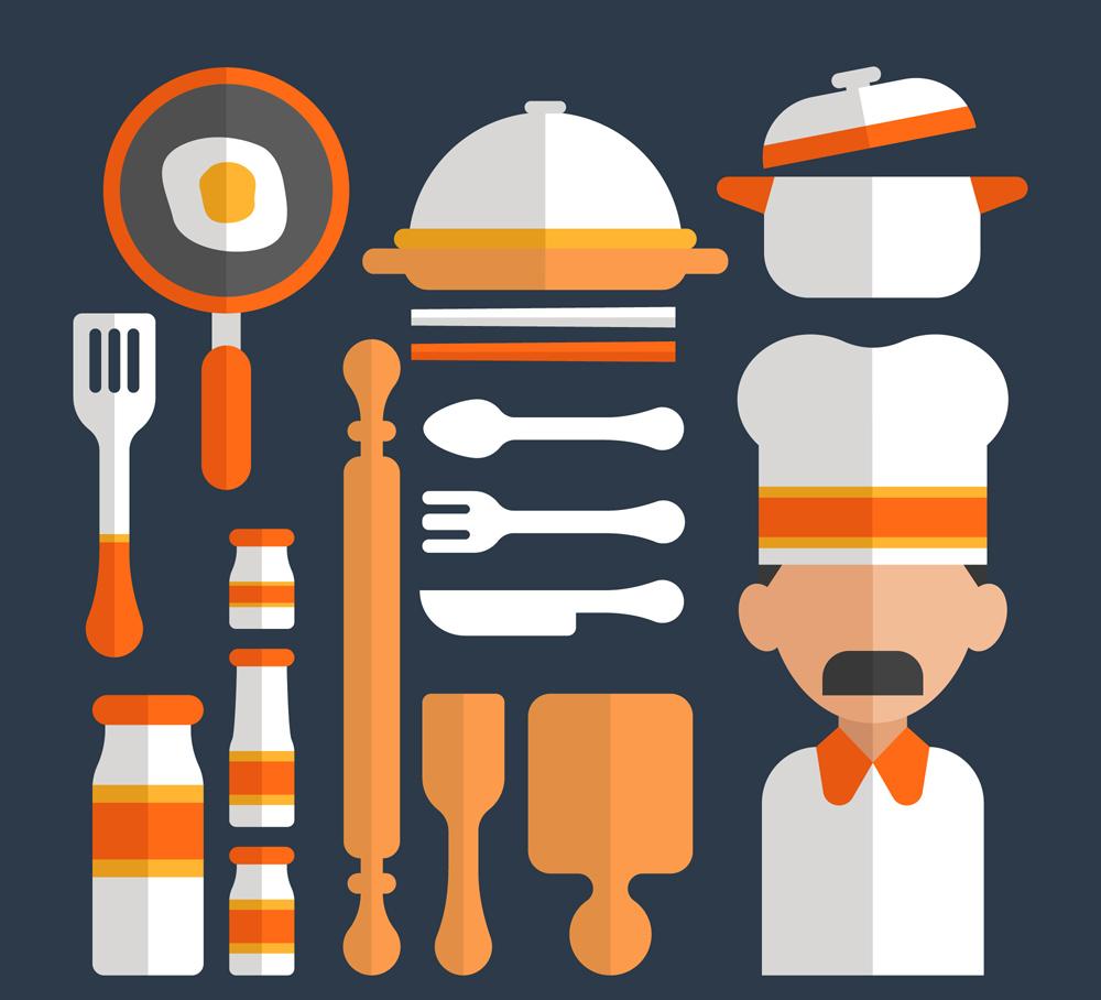 16款创意扁平化厨房用品矢量梦之城娱乐