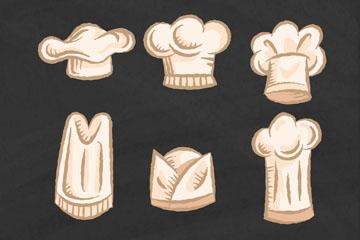 6款手绘白色厨师帽矢量梦之城娱乐