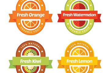 4款彩色扁平化果汁标签矢量图