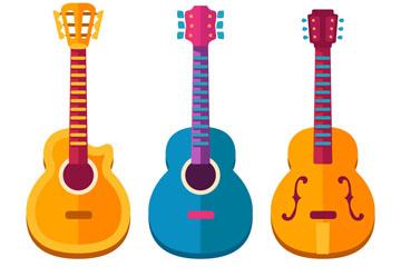 3款彩色吉他设计矢量素材