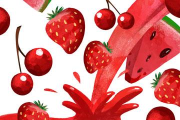 彩绘红色水果和果汁矢量素材