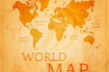 复古世界地图设计矢量素材