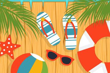 夏季沙滩木桥插画矢量素材