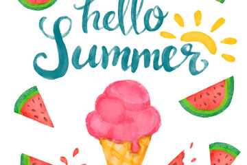 彩绘夏季冰淇淋和西瓜矢量图