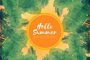创意你好夏季棕榈树叶框架矢量素