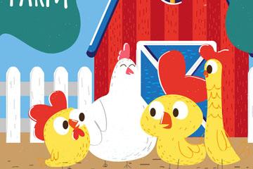 可爱养鸡场鸡家庭矢量素材
