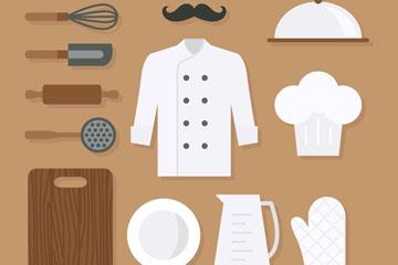 12款扁平化厨师元素矢量素材