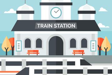 创意现代火车站设计矢量素材